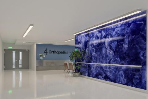 Feature wall in ViviSpectra Zoom glass with Blue Amethyst interlayer