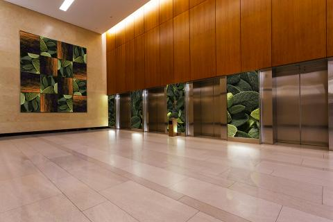 Feature wall with panels in ViviSpectra Zoom glass with Sage interlayer and Gold Hills interlayer; also shown, backlit wall panels in ViviSpectra Zoom glass with Sage interlayer